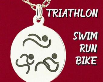 Original Design Triathlon Boy or Girl Charm Pendant Necklace 925 Sterling Silver Black Hand Enameled Engraved Jewelry Swim, Bike, Run