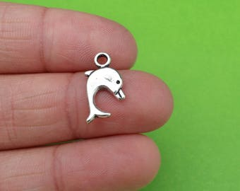 8 Dolphin Silver Double Sided Sea Charms (CH179)