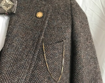 1900s Victorian Antique Lapel Pocket Watch Chain - Gold Filled Button Fob
