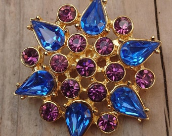 Vintage blue and purple rhinestone brooch