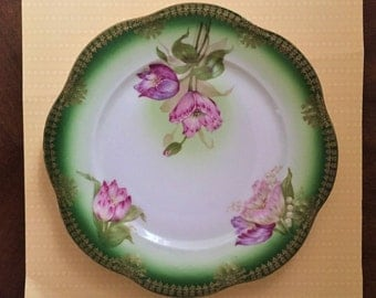 Free Shipping Antique Porcelain Hand Painted Display Plate Pink Flowers Gold Trim Scalloped Edge