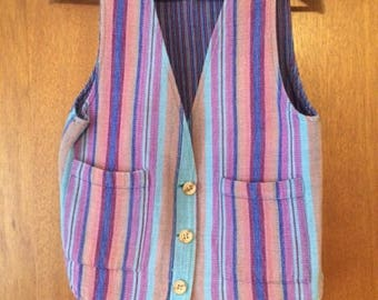 Vintage Women's LL Bean Woven Guatemalan Vest Pink Blue Orange S
