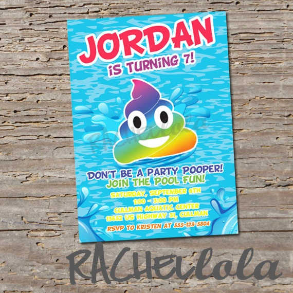 Rainbow Poop Emoji Pool Party, Birthday Invitation