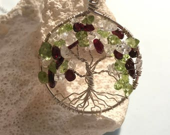 Tree of Life, Plum Tree Design, Garnet, Clear Quartz, Peridot Tree, Sterling Silver Necklace, Sterling Chain, Wire Wrapped Pendant Gemstone