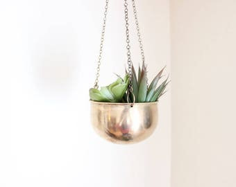 Brass Hanging Planter Small Brass Planter on a Chain Succulent Cactus Planter Boho Home Decor