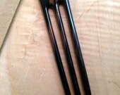 "Ebony 6 Inch Three Prong Wooden Straight Hair Fork Pick Pin Pic Comb Stick FPL 4.5"" Black with Dark Brown Grain 1 3/8 inch Wide"