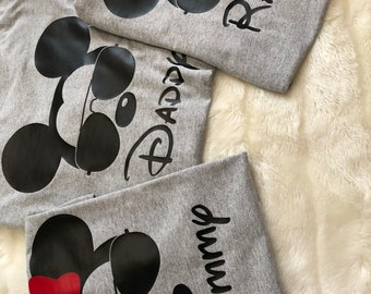 Mickey Family Shirts with Sunglasses