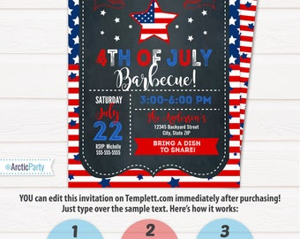 4th of July Invitations - 4th of July Barbecue - 4th of July Party - 4th of July Birthday - INTSTANT ACESS to files! Edit with Templett.com