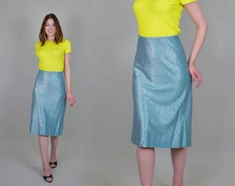 """1950's Lurex Koret of California Pencil Skirt rare 32"""" waist"""
