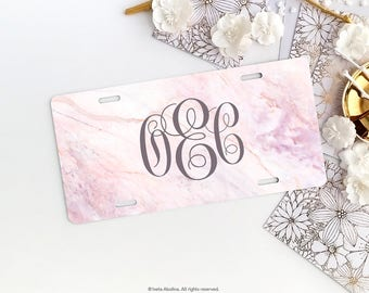 Pink Marble Personalized Car License Plate Monogrammed License Plate Frame Pink Marble Print Car Plate Frame Car License Plate Frame Set 22.
