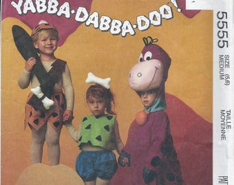 1990s McCall's Kid's Flintstones - Bam Bam, Pebbles and Dino Costumes Sewing Pattern UNCUT