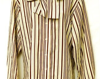 Vintage Plus Size Womens Ascot Blouse Pussy Bow Long Sleeve Secretary Top Chocolate Brown Striped 70s 80s Clothing