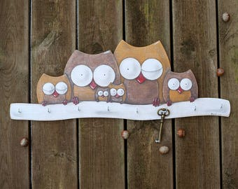 Wall Key Holder BIG OWL FAMILY, Illustration on Wood, Wooden, Wall Decor, Key board, Key Hanger, Home, Housewarming Gift