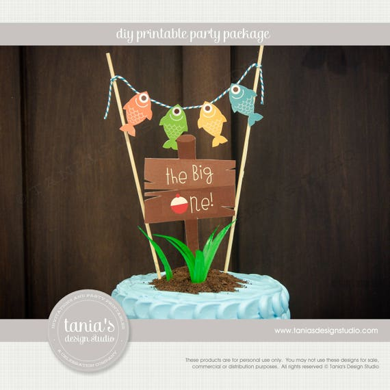Gone Fishing The Big One Birthday Cake Topper Instant