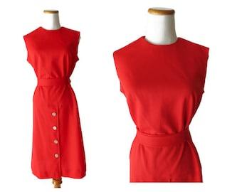 Red Mod Dress 60s Drop Waist Shift Dress 1960s Sleeveless Day Casual Dress Size Medium M Twiggy 60s Party Go Go