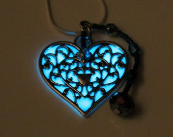 Aqua Blue Glow in the Dark Heart with Crystal Beaded Drop