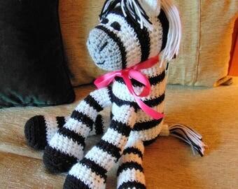 "Crocheted zebra stuffed animal doll  toy ""Zippy"""