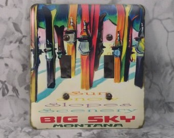 Metal Skiing Double Toggle Light Switch Cover - Big Sky Montana - 2T Double Toggle