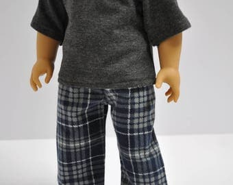 Navy Blue and Gray Plaid Flannel Pajama PJ Lounge Pants Made to fit American Boy Doll Clothes 18 Inch Doll Clothes
