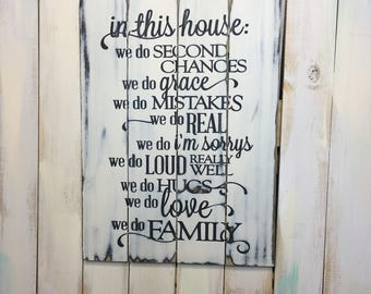 Family Rules Sign- In This House- Picket Fence Sign- Family Rules Plaque- Family Sign- Home Decor- Wall Decor- Rustic Decor- Rustic Sign