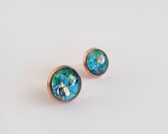Turquoise Green & Copper Stud Earrings - Gift for Her