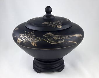 Tiffin U.S. Glass Black Satin Bowl, Lid, Stand Hand Painted Bird Gold 1920s