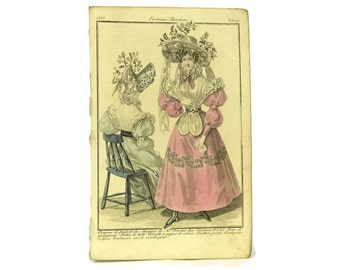 1828 Antique Fashion Illustration. French Engraving. Fashion Plate from Costumes Parisiens. Ready To Frame Art. Fashionista Gift.