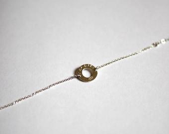 """Circle engraved Medal """"fragile"""" Silver 925 bracelet"""