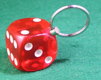 Vintage big red lucky dice keychain.