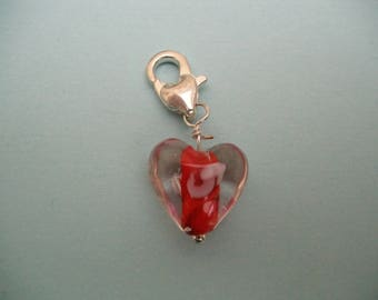 Red lampwork heart silver charms