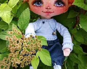 Textile doll, art doll, handmade doll, fabric doll, home decoration, doll boy Red Elf