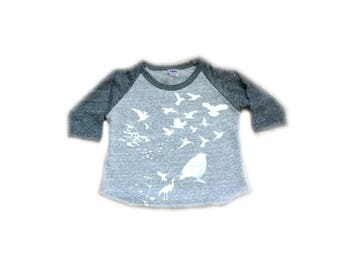 Flock Infant Baseball tee-Unisex-tri blend Royal Apparel-tshirt-t shirt-baseball tee-flock of birds-bird-baby gift-baby-baby clothes