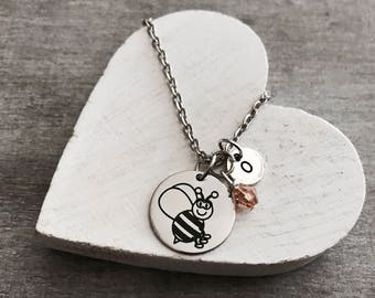Banjo the bee, Honey Bee, bumble bee, Insect, Bee Necklace, Bee Jewelry, Teenager, Silver Necklace, Charm Necklace, Silver Jewelry, Gift for