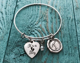 SALE Its a Boy, Baby Boy, Gender Reveal, Baby Shower, New Mom, First Time Mom, Baby Shower Gift, Charm Bracelet, Silver Bracelet, Gift