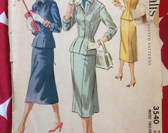1950s 50s Suit Skirt Jacket Original Vintage Sewing Pattern McCalls 3540 Bust 36