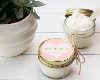 Set of 12- 4 oz - Sugar Scrub Favors - All-Natural, Vegan - Love is Sweet Bridal Shower Favor | Love is Sweet Label | Rustic Shower Favor