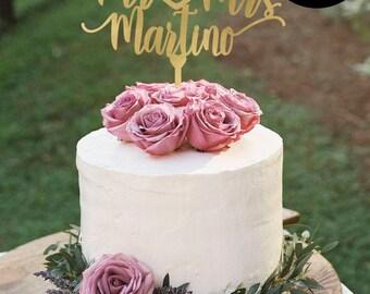 Gold Wedding cake Topper, Cake Topper for Wedding with Date, Mr and Mrs Cake Topper, Cake Topper Personalized, Silver Cake Topper, CT-037