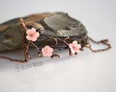 Hand Clayed Cherry Blossom Necklace Copper Sakura Necklace Japanese Cherry Blossom Jewellery Pink Blossom Necklace Japanse Necklace Kawaii