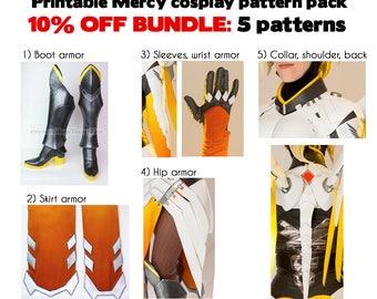 10% OFF 5 pattern bundle - Printable Overwatch Mercy cosplay armor tutorial - sleeves, boots, hip, skirt, back digital download ZIP costume