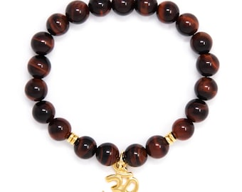Om Bracelet, Wrist Mala Bead Bracelet, Buddhist Jewelry, Red Tiger Eye - For Motivation & Goal Accomplishment