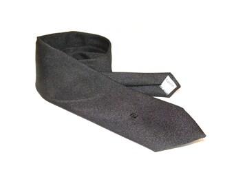 1960s 70s Vintage PIERRE CARDIN Neck Tie / Black on Black Monochrome embroidered Logo Tie