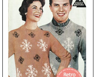 1950s His n Hers Fair Isle Snowflake Sweater - Vintage Knitting Pattern - PDF Instant Download