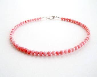 Pink Coral Bracelet - Gemstone Bracelet - Coral Bead Bracelet - Pink Small Bead Bracelet - Stacking Bracelet - Girls Size - Plus Size