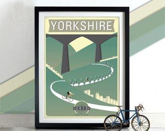 Bicycle, bike, cycling race Tour de Yorkshire 2015 Poster Wall Art Hanging Print Home Décor
