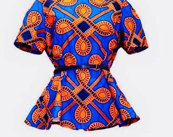 African clothing, African clothing for women, African Top, Top, African Print Shirt. (Short Sleeve) SALE