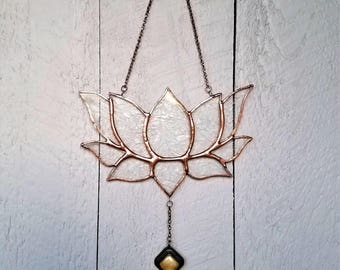 Clear Stained Glass Lotus Flower Art Window Ornament, Unique Lotus, Zen Art Ornament, Everlasting Flower,Peaceful Artwork,Creative Gift Idea