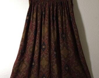 Michelle Stuart Womens 14 Brown Maroon Black Ethnic Boho Long Skirt Vintage