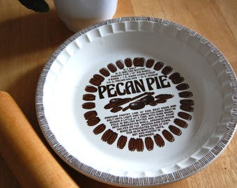 Pecan Pie Pan ~ Royal China Co. Jeannette / Decorative Plate With Pecan Pie Recipe / White and Brown