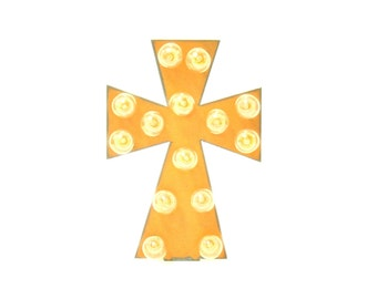 Cross Marquee Rusted Metal Vintage Inspired Lighted Sign