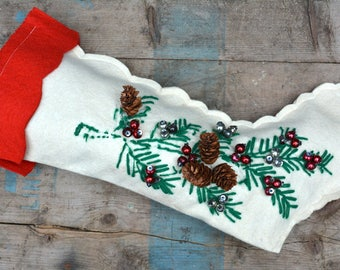 1950s Christmas Stocking / Embroidered Wool Felt with Pinecones Sequins and Mercury Glass Beads